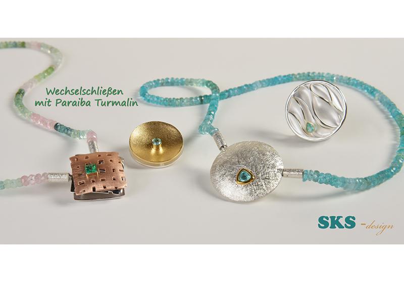 SKS-Schmuck GmbH, Idar-Oberstein, Stand H2.207, Wechselschließe mit Paraiba-Turmalin