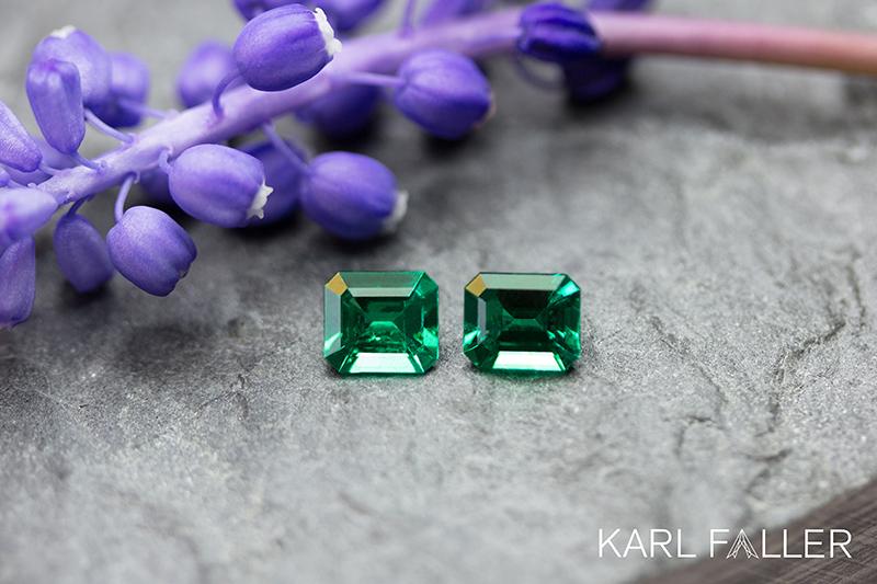 Karl Faller, Idar-Oberstein, Stand H1.104, Kolumbianische Smaragde - no oil - insignificant oil - vivid greeen - muzo green
